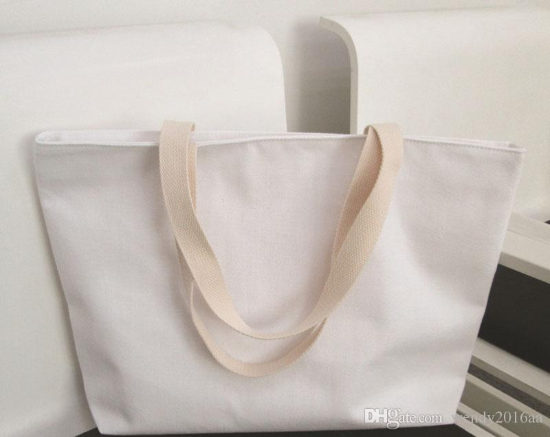 2017 46*30cm Pure White Natural Cotton Canvas Tote Bag Blank Totes ...