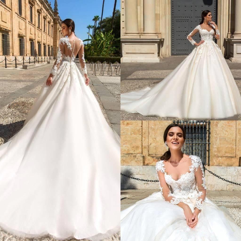 2017 Gorgeous Crew Neck Lace Wedding Dresses Sheer A Line