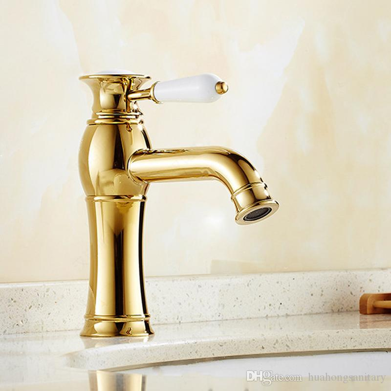 Cheap Wholesale Deck Mount Kitchen Sink Faucets With One Handle One Hole Golden Kitchen
