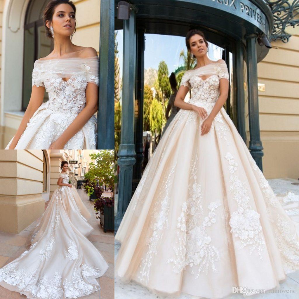 Modest f Shoulder Wedding Dresses Lace Applique Crystal
