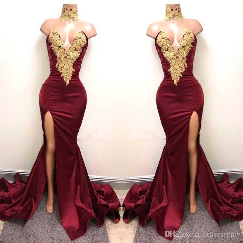 New Design 2K18 Sexy Burgundy Prom Dresses with Gold Lace ...