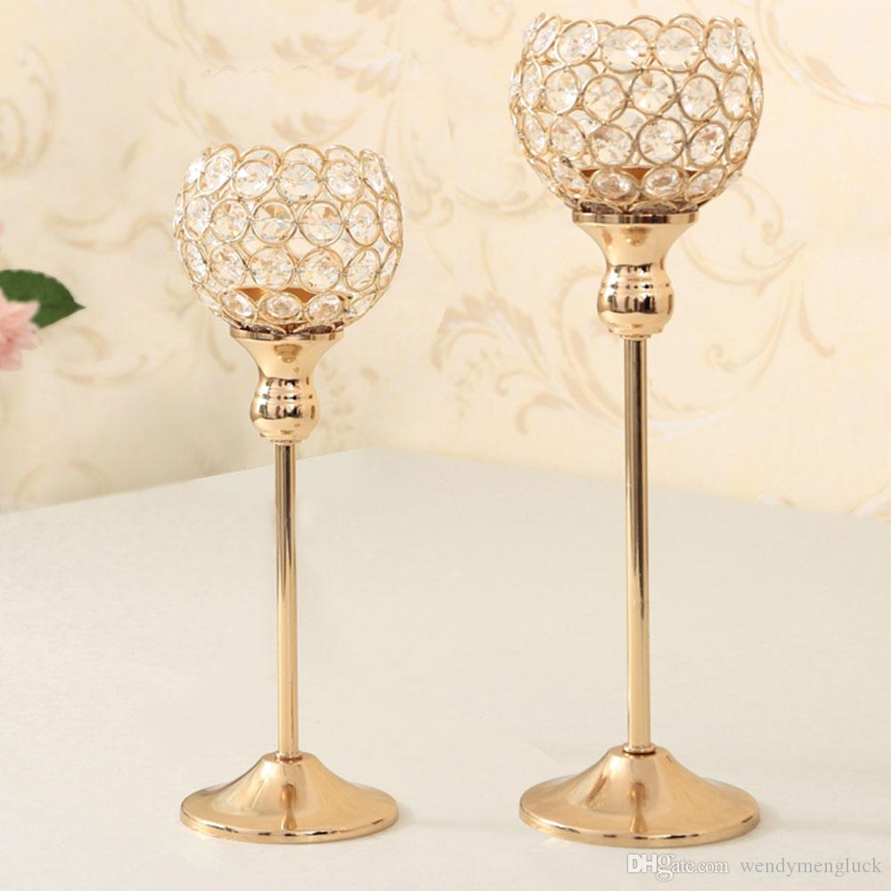 Gold Crystal Candle Holders Set Of 2 Wedding Centerpiece Decoartion Candlestick Home Decor Fireplace Candelabra Candlestick