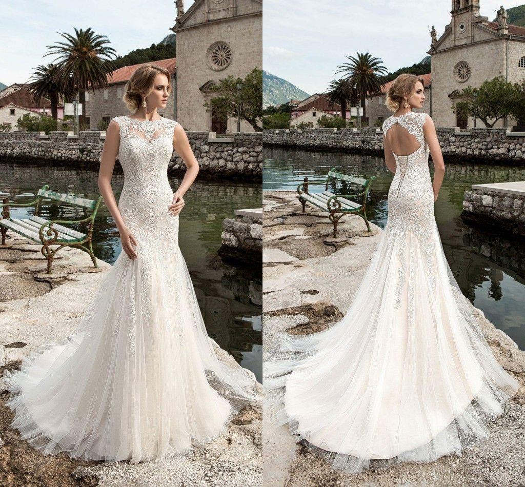 Gorgeous Mermaid Lace Wedding Dresses Tulle 2017 Sheer