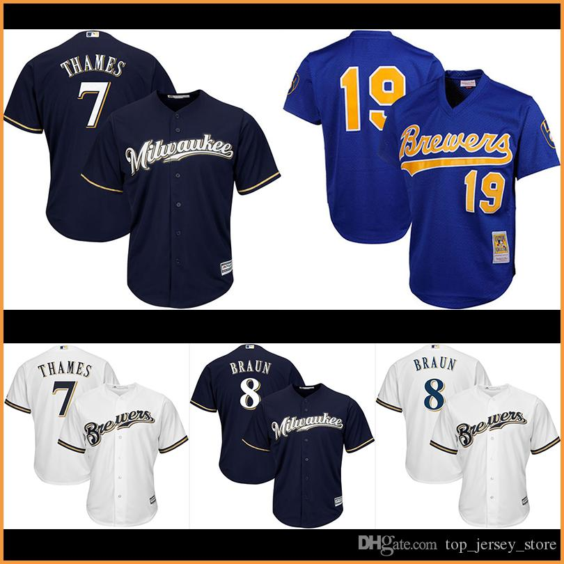 Maillots de baseball Milwaukee Brewers pour homme 19 # Robin Yount 8 # Ryan Brau