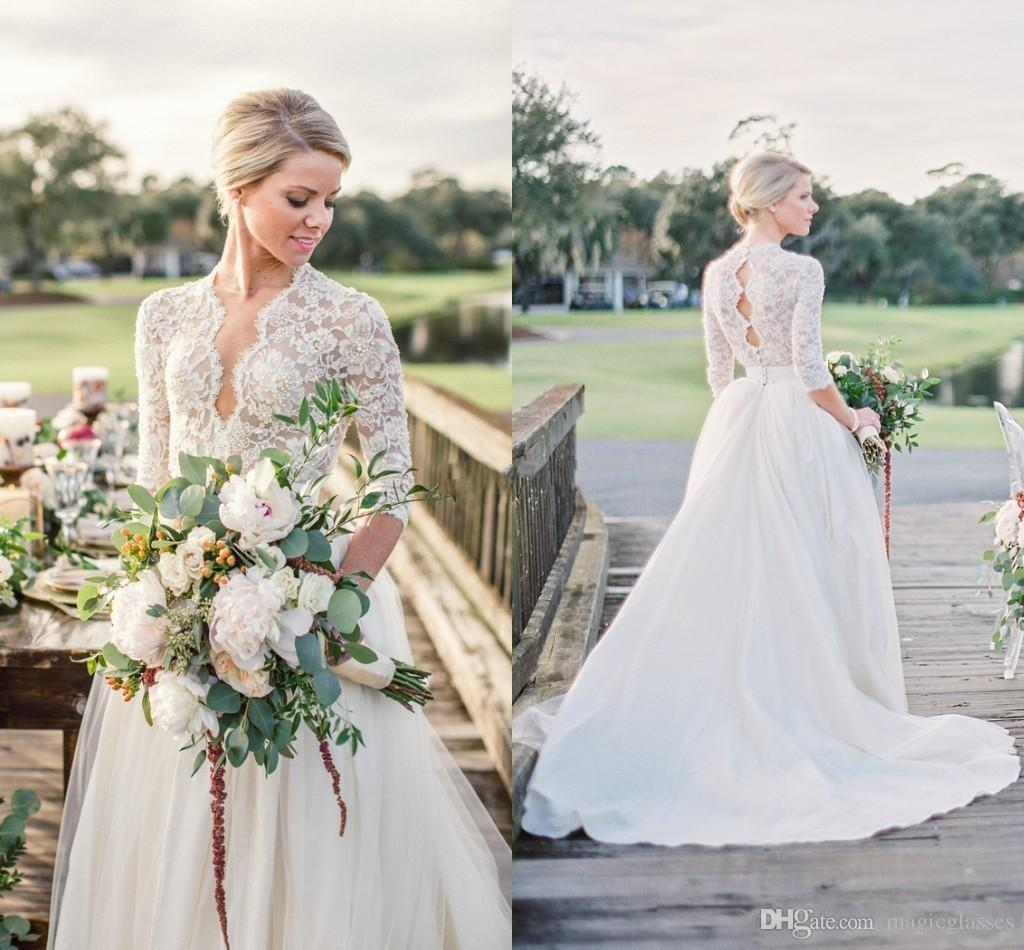 Discount Modest 3 4 Long Sleeve Tulle Wedding Dresses Open
