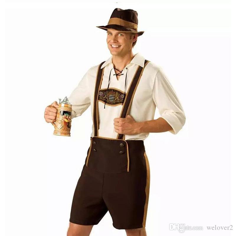 men oktoberfest costume set bavarian octoberfest german festival beer cosplay adult plus size halloween costumes hat top short ps020 men oktoberfest costume