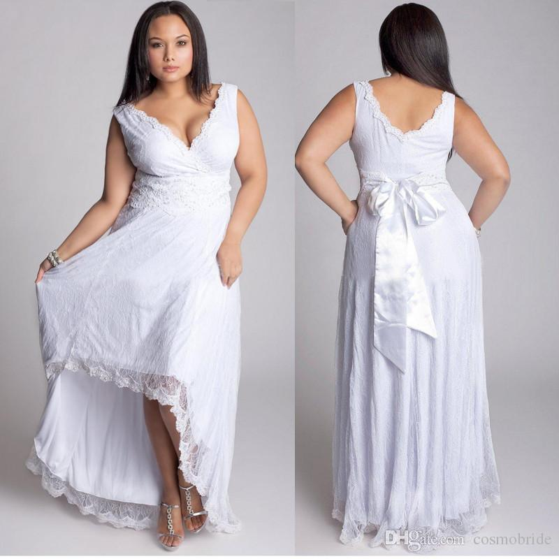 High low wedding gowns lace v neck plus size wedding for Expensive plus size wedding dresses