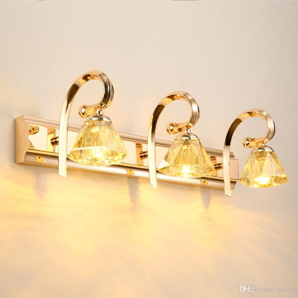 Best modern gold crystal led mirror lights creative for Gold bathroom wall lights