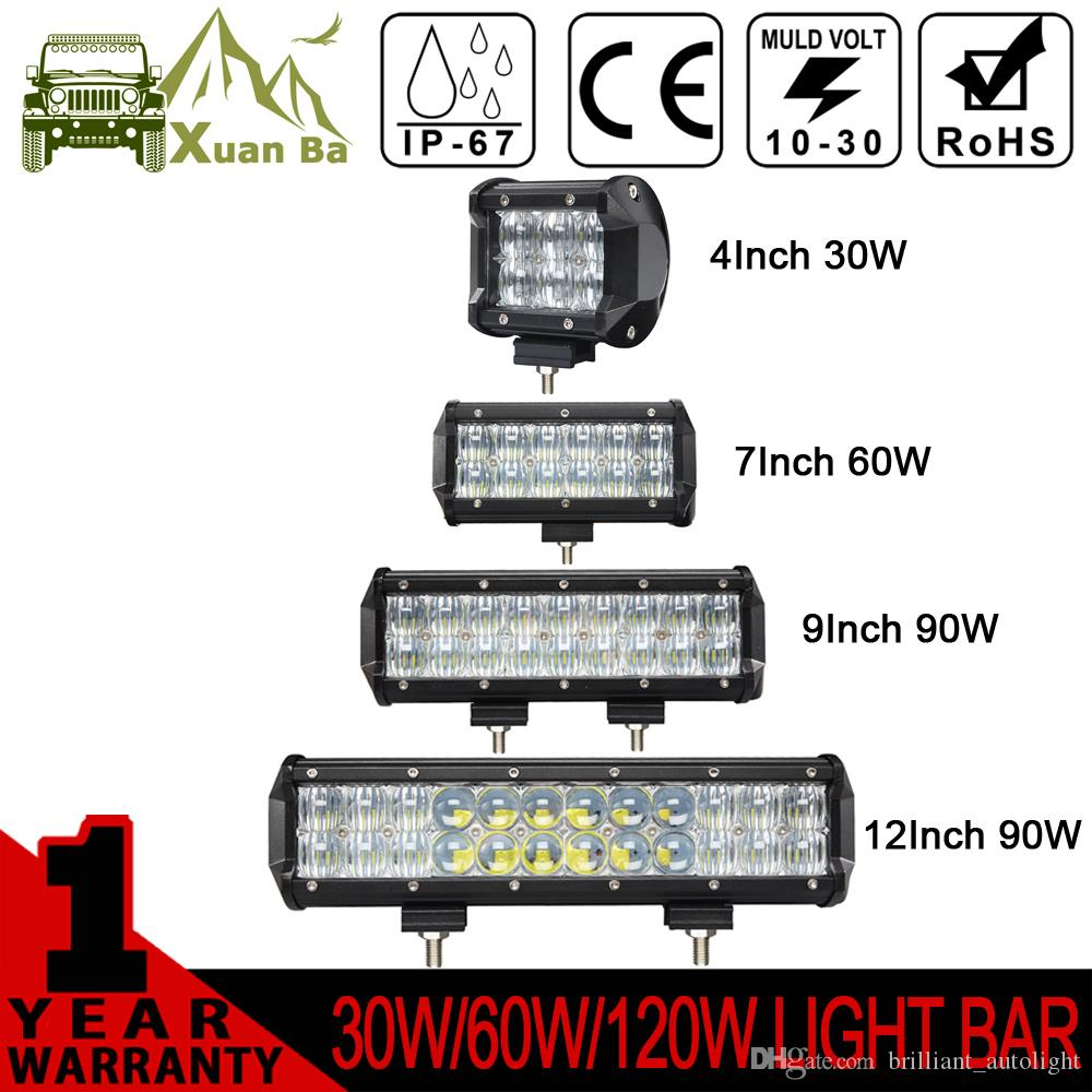 XuanBa 5D 4 7 12 pouces 60W 120W Led Light Bar pour tracteur 4x4 Off Road 4WD Mo