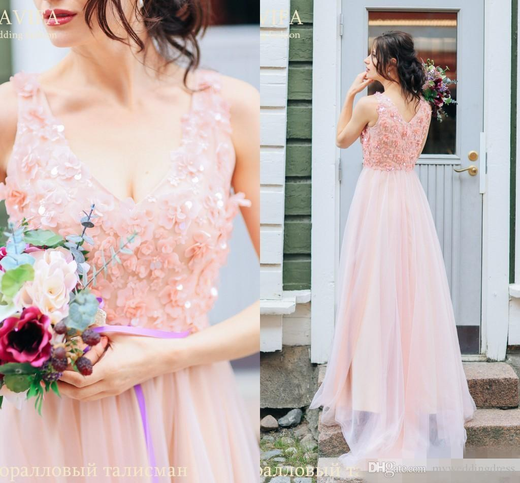 Blush Pink 2017 Plus Size Beach Bridesmaid Dresses Deep V