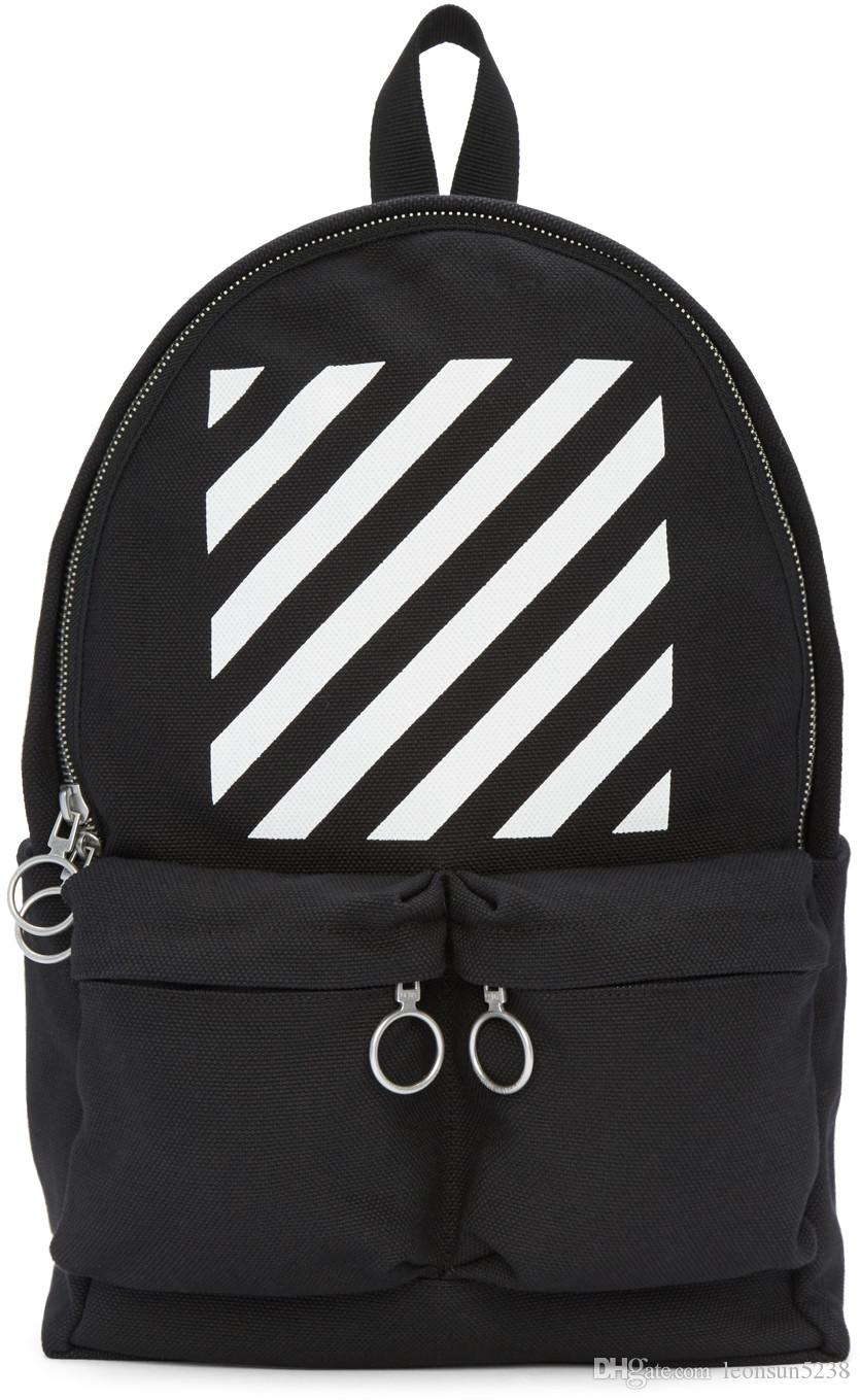 Off White 16ss Black Diagonals Backpack Leather Back ...