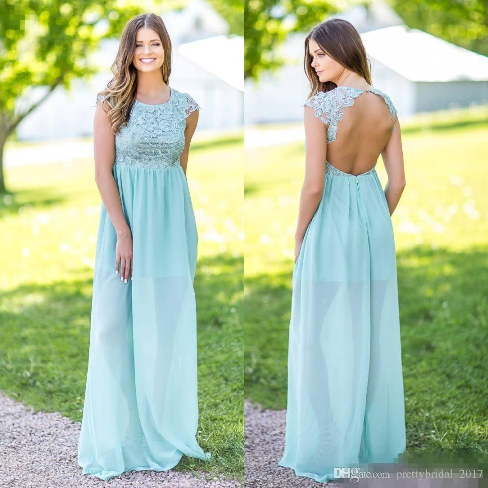 2017 ice blue lace top country bridesmaid dresses long jewel neck 2017 ice blue lace top country bridesmaid dresses long jewel neck backless open back wedding guest dress floor length maid of honor gowns 2017 maid of honor ombrellifo Image collections