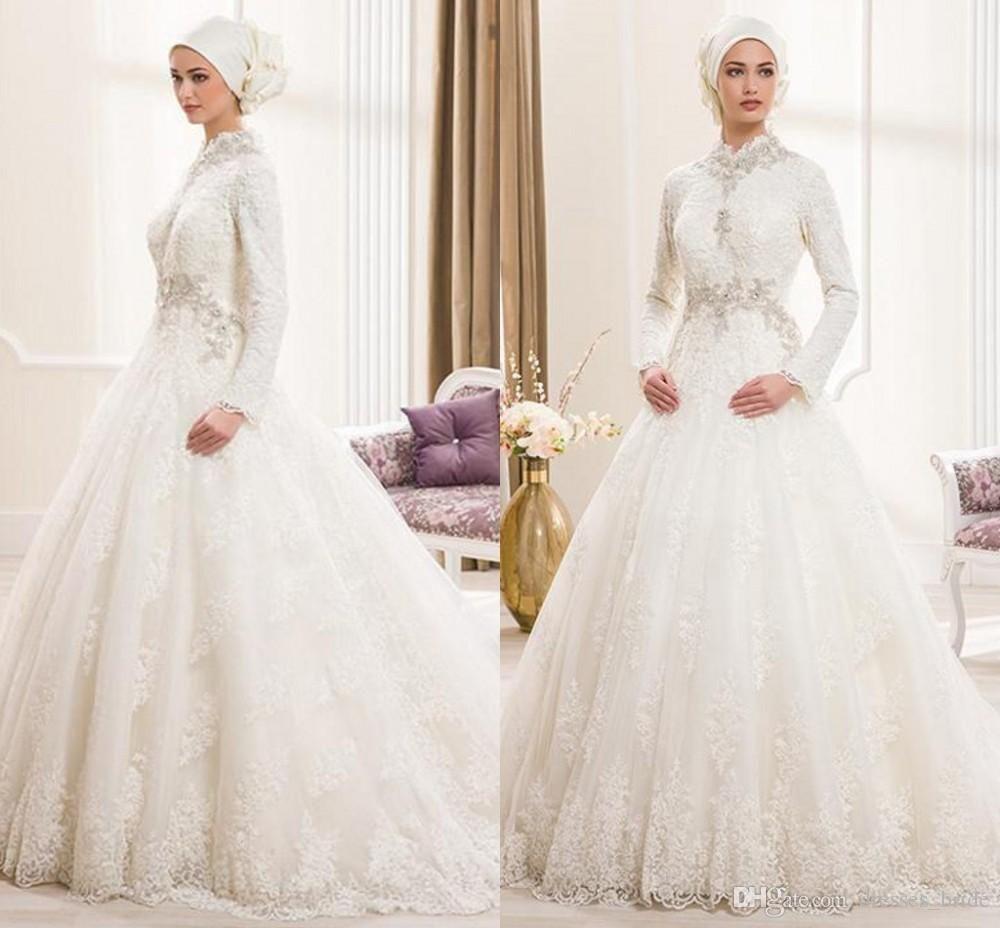 Discount beautiful 2017 vintage lace muslim wedding for Cheap wedding dresses in dubai