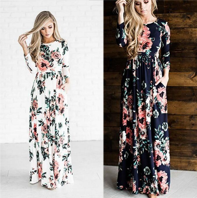 Women's Fashion Spring 3/4 Sleeve Classic Rose Maxi Dresses Long ...