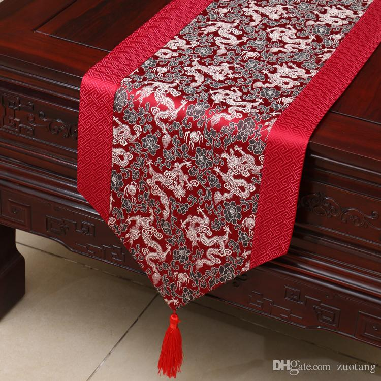 120inch Extra Long Dragon Patchwork Table Runner High End Chinese Style  Silk Brocade Dining Table Cloth Protective Pads Placemat 300x33 Cm Ethnic  Table ...