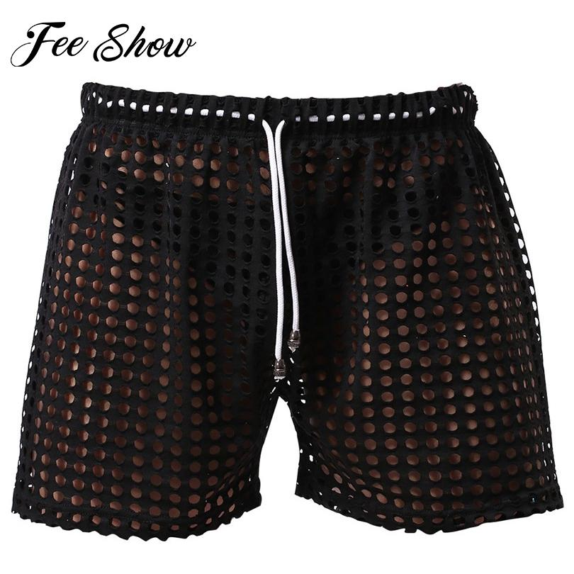 Wholesale- Hot Sale Sexy Men Hollow Out Drawstring Lounge Shorts ...