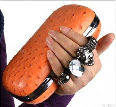 2016 Skull Knuckle Rings Clutch Ostrich Pattern Evening ...