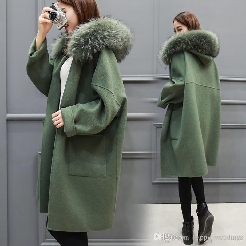 2017 Winter Long Loose Fashion Fox Fur Collar Women Pure Color ...