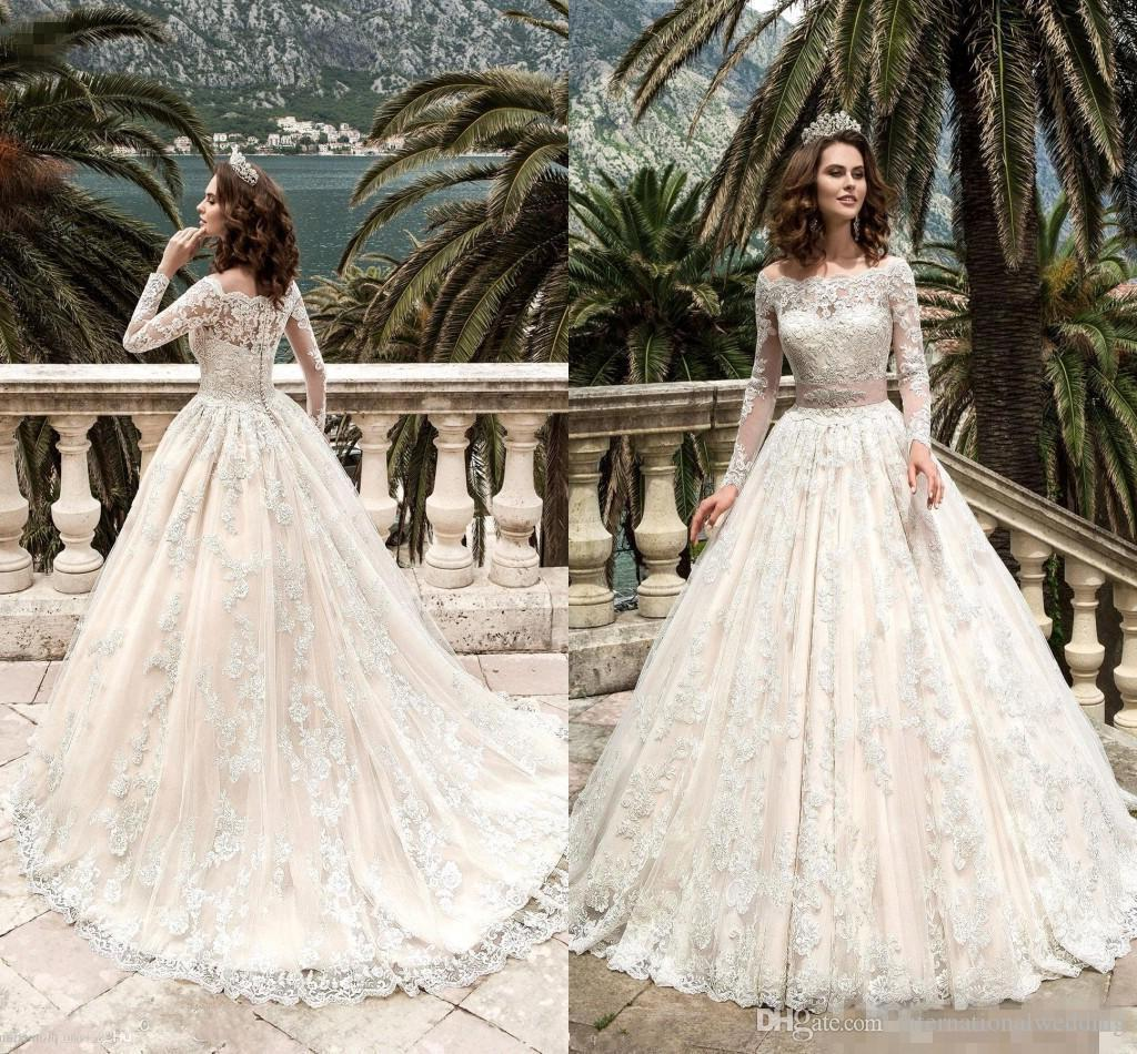 2017 Stunning Full Sleeves Lace Wedding Dresses Vestidos