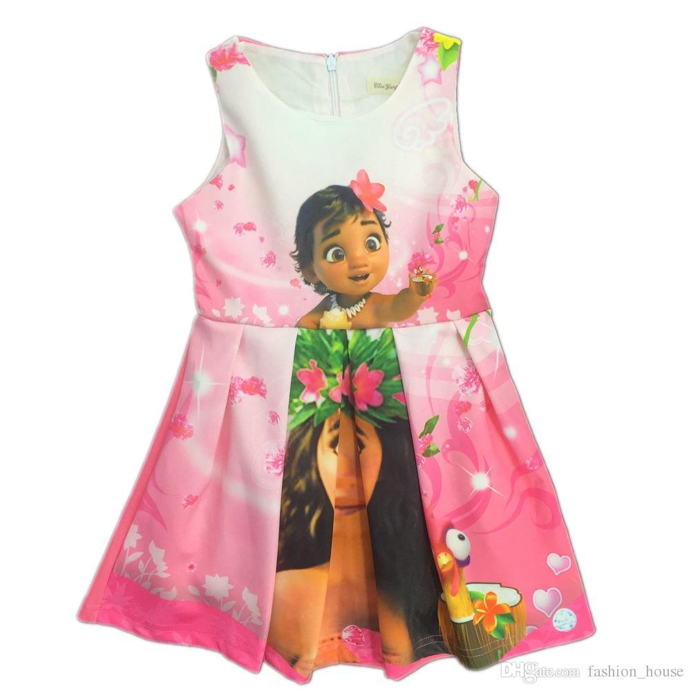 New Baby Girls Moana Dress Summer Cartoon Children ...