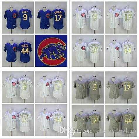 2017 Men's Chicago Cubs Jersey 17 Kris Bryant 44 Anthony Rizzo 9 Javier Baez 12