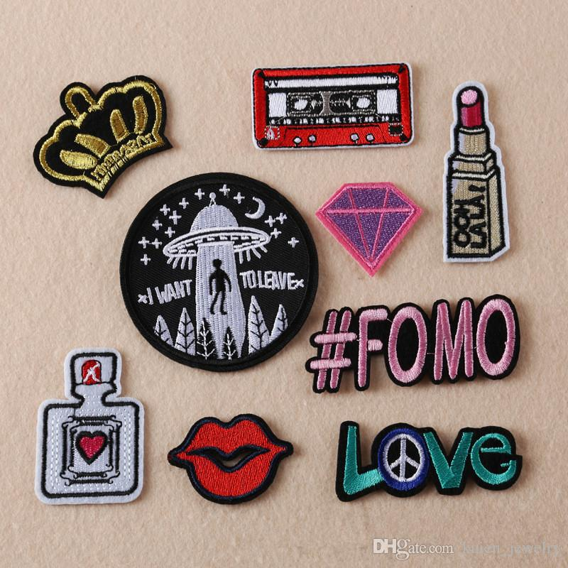 Patches mixed design clothing patch diy flowered skeleton