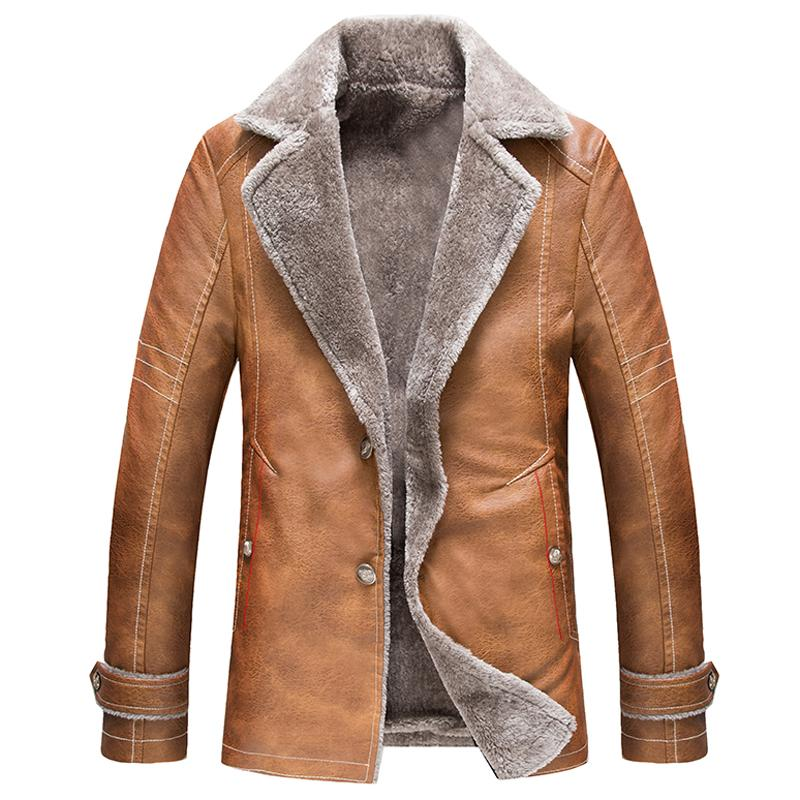 England Style Vintage Mens Leather Fur Coat High Quality Russian ...