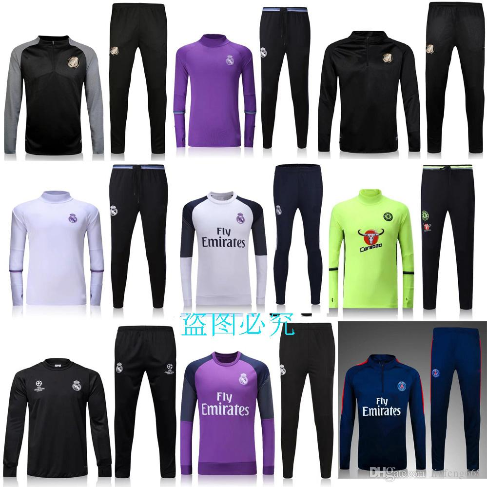 NOUVEAU 2016 2017 Real Madrid costume de formation Best Quality Chelsea survêtem