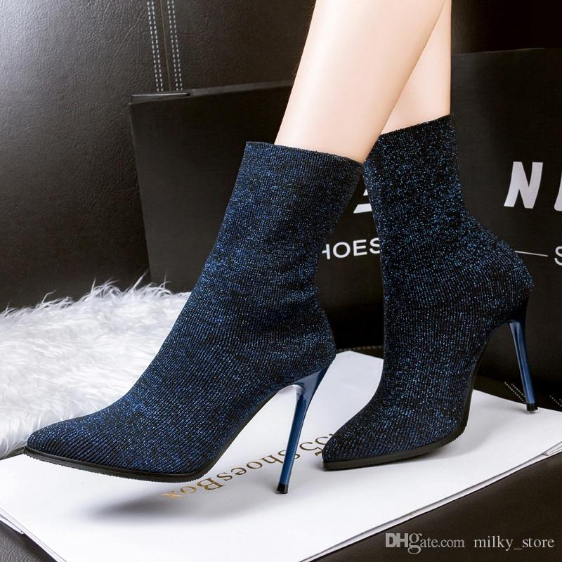 99 5 New Fashion Women Ankle Boots Help Socks Shoes Stretch Solid ...