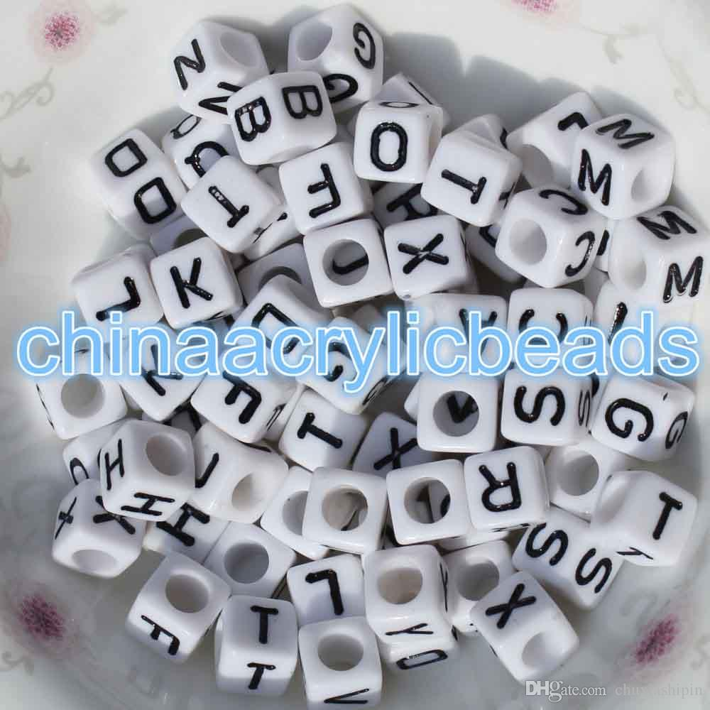 200pcs 6mm acrylic white cube letter beads square alphabet beads single letters alphabet cube single letter beads a z