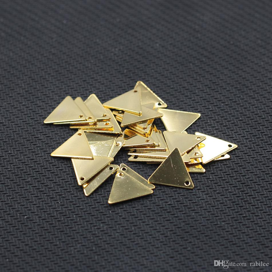 Gold Plated Triangle Slice Pendants For Jewelry Making Craft