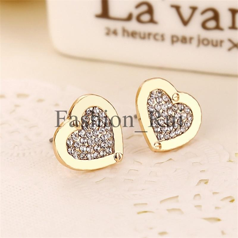 New York Fashion Stud Earrings Tone cristal Pave Love heart Earrings célèbre mar