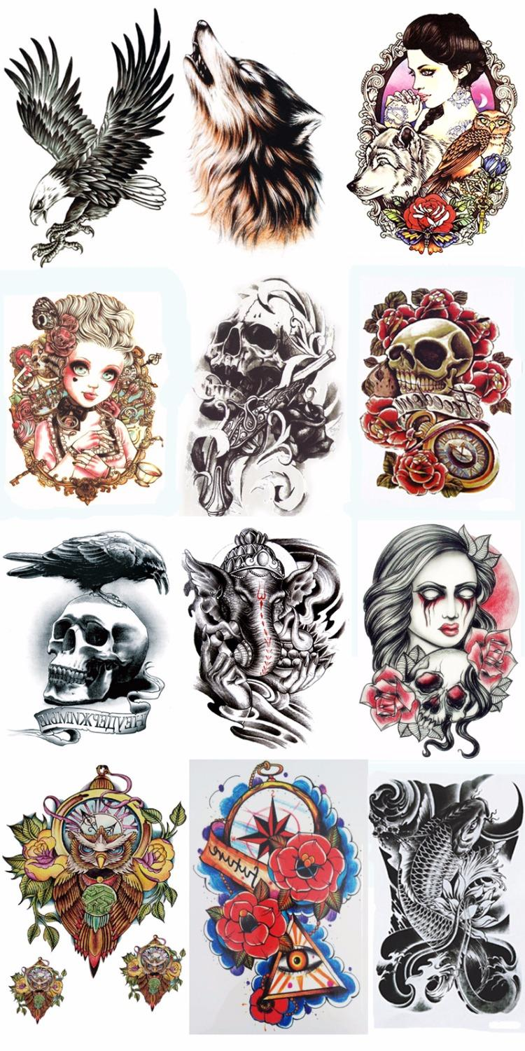 Wholesale 12styles women men temporary tatoo henna tattoo for Wholesale temporary tattoos