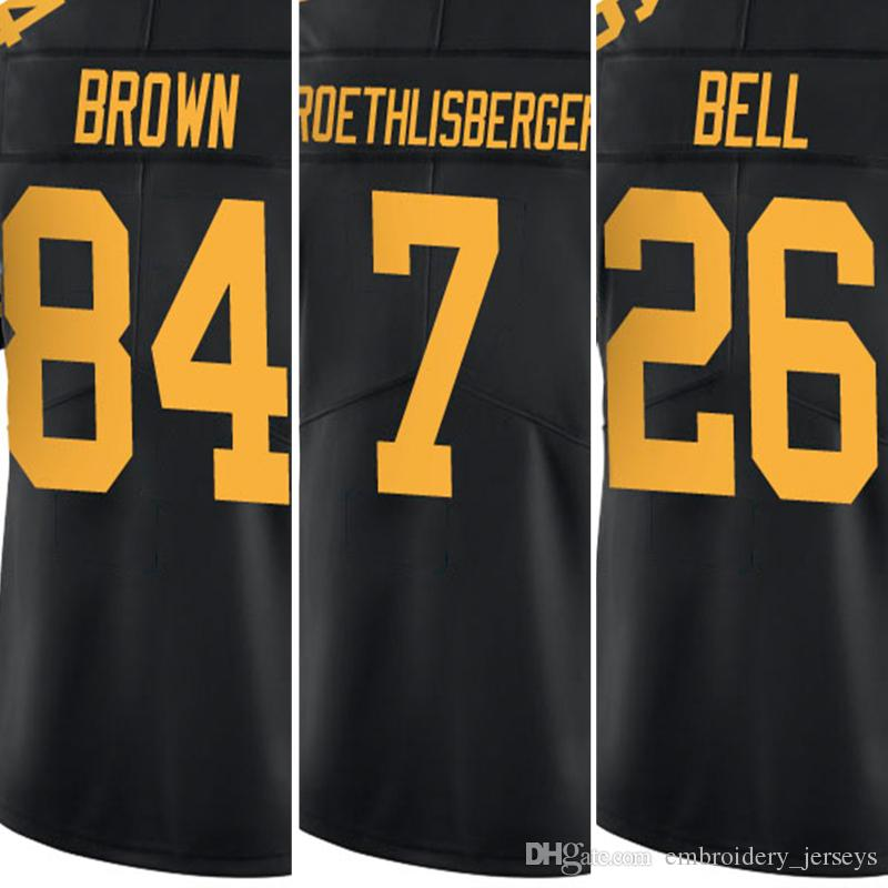 Hommes 26 Le'Veon Bell Jersey Hommes # 7 Ben Roethlisberger Adulte Broderie Logo
