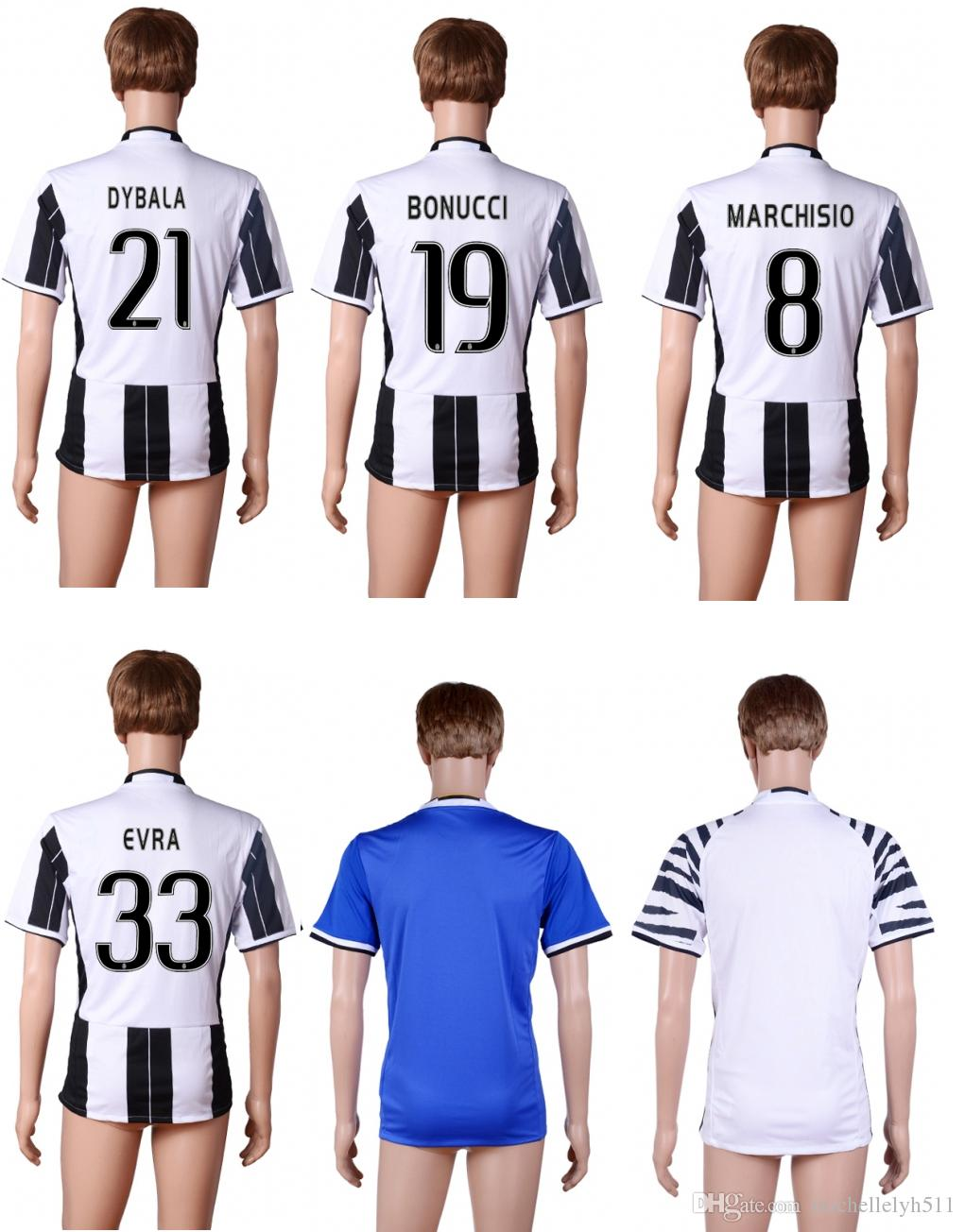16 17 JUVS à domicile 3RD maillots de football DYBALA MARCHISIO Higuaín top chem