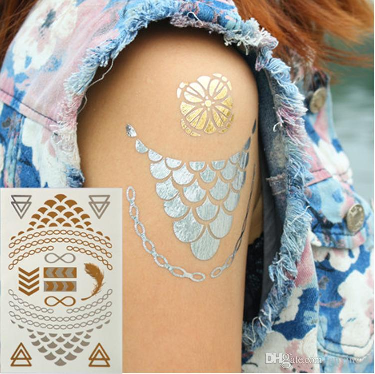 Popular flash gold silver metallic temporary tattoo for Tattoo factory prices