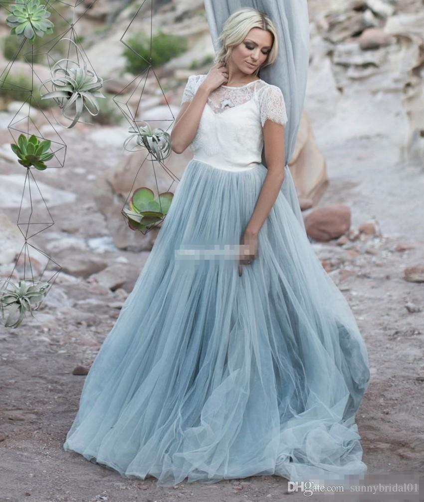 Discount light blue wedding dresses white lace sheer for Short light blue wedding dress