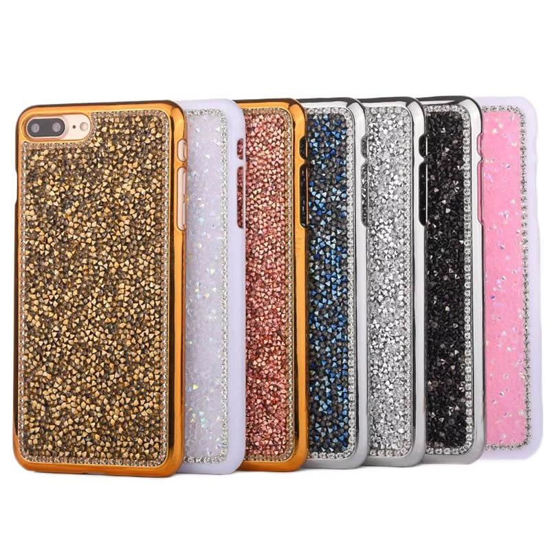 Luxe Bling Glitter Cristal Diamant strass TPU souple pour iPhone 5 7 6 6S Plus 4