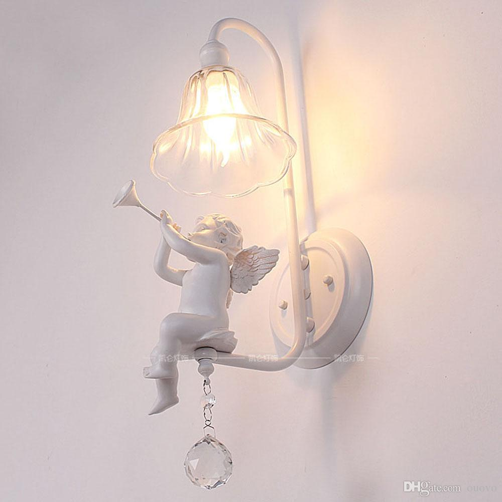 Wall Lamps For Baby Room : 2017 Italian Milan White Resin Baby Angel Bedroom Bedsides Wall Lights Living Room Crystal Wall ...