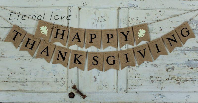 2018 Wholesale Happy Thanksgiving Burlap Banner Happy