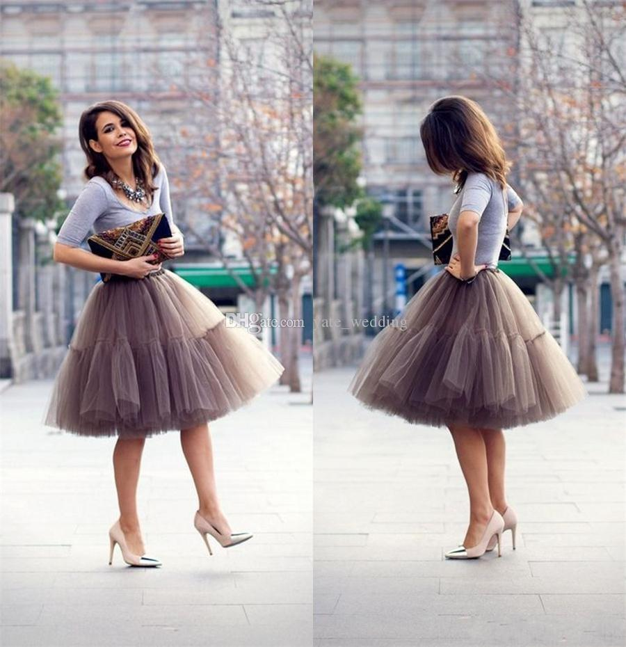 Chocolate Brown Tutu Women Skirts High Waisted Ruched Tulle Knee ...