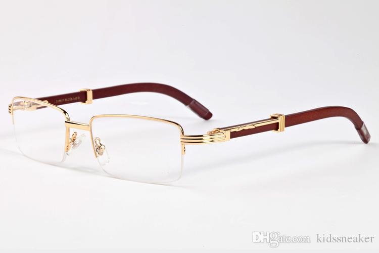 Rimless Glasses Wood Frame : 2017 Retro Semi Rimless Wood Frame Luxury Sunglasses Men ...