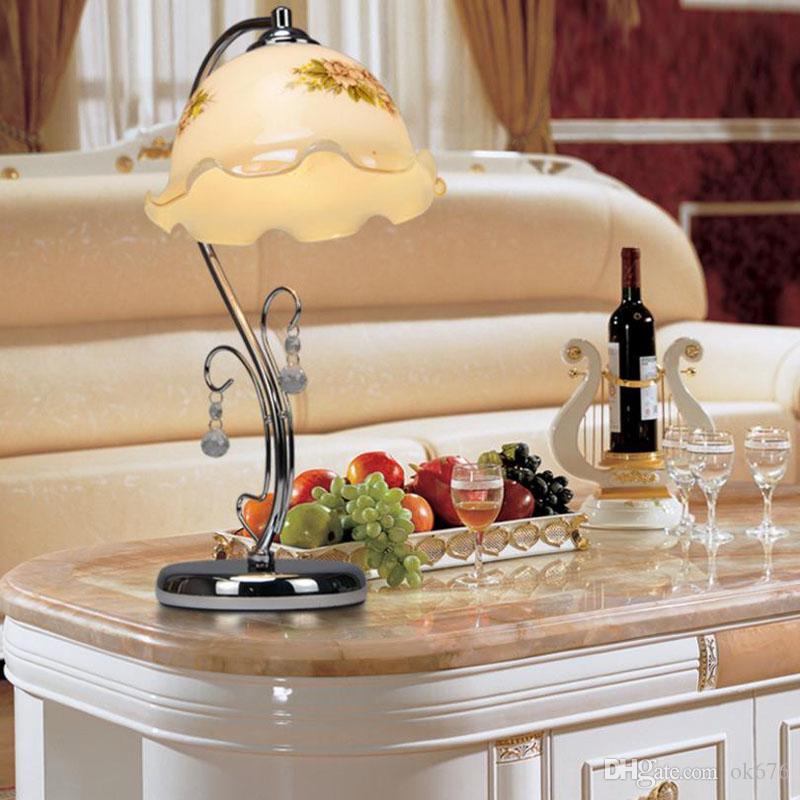 European Retro Style Table Lamps Glass Orchid Pattern Vintage Elegant  Bedside Desk Light For Bedroom/Bank/restaurant Hot Selling European Table  Lamps Living ...