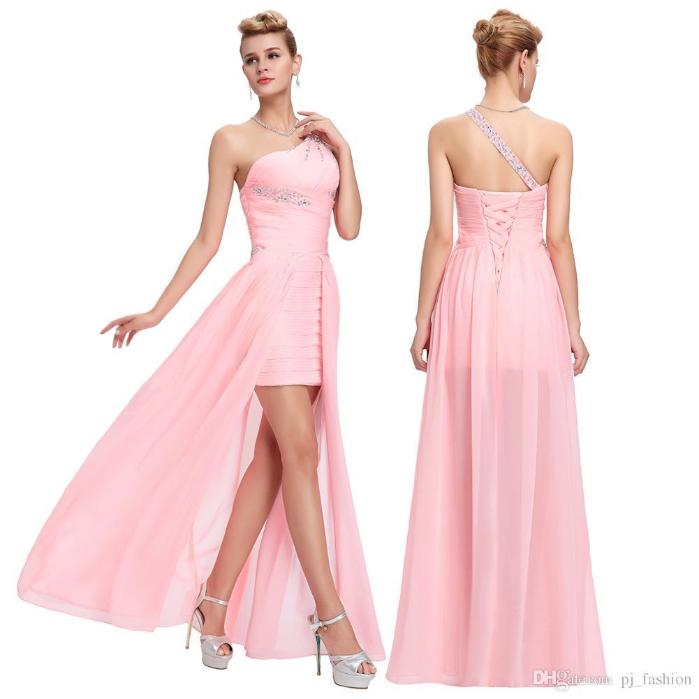 Grace Karin Sheath One Shoulder Hi Lo Homecoming Dresses Sexy Lace ...