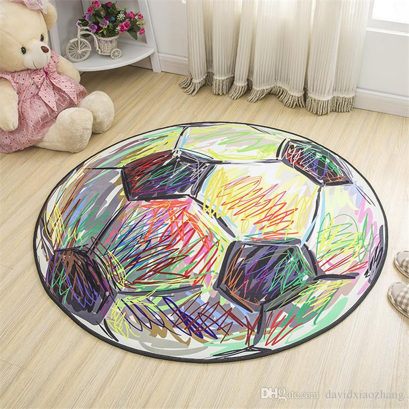 Cartoon Football Carpet Polyester Fabric Round Carpets For
