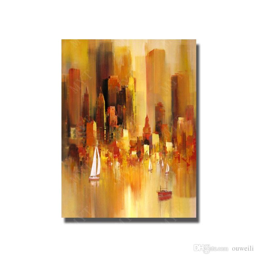 2017 beautiful scenery oil paintings simple design modern abstract city scenery oil painting beautiful decorative home - Decorative Home Items
