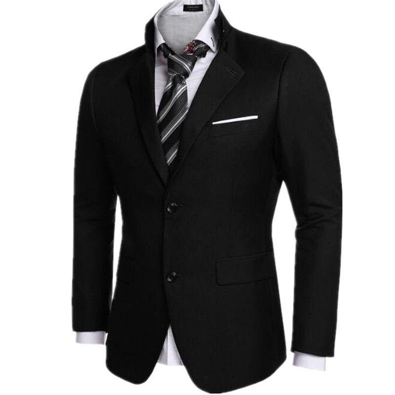 Black Color Men's Suit Jacket Formal Wedding Two Grain of Buckle ...