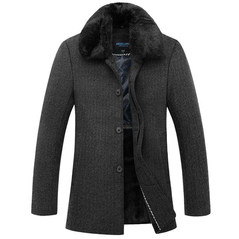 Wholesale- Luxury Fashion Design Big Fur Collar Pea Coat Men ...