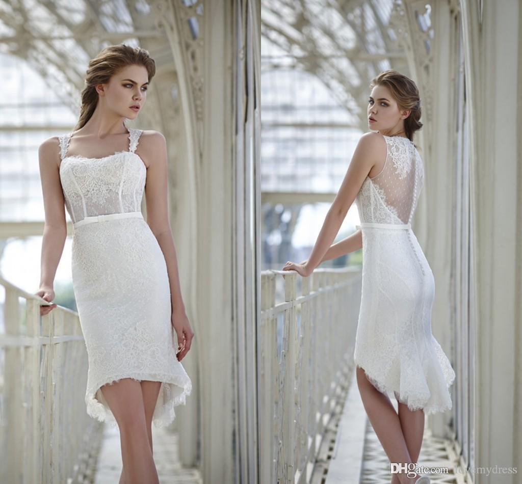 Hi Lo Wedding Dresses New Tea Length Lace Mermaid See