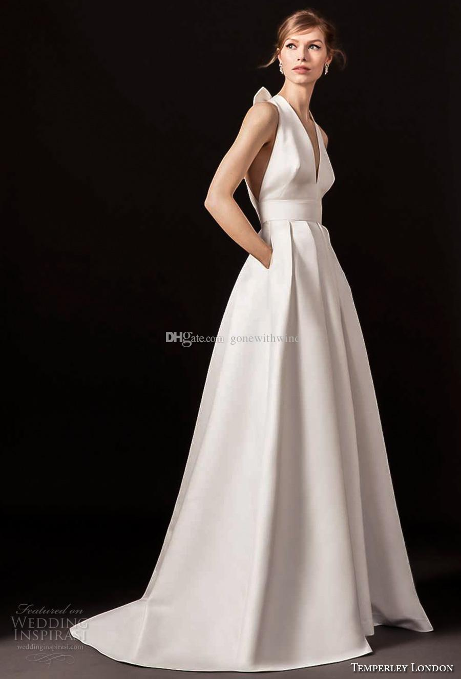 Discount simple clean a line wedding dresses with pockets for Aline halter wedding dresses